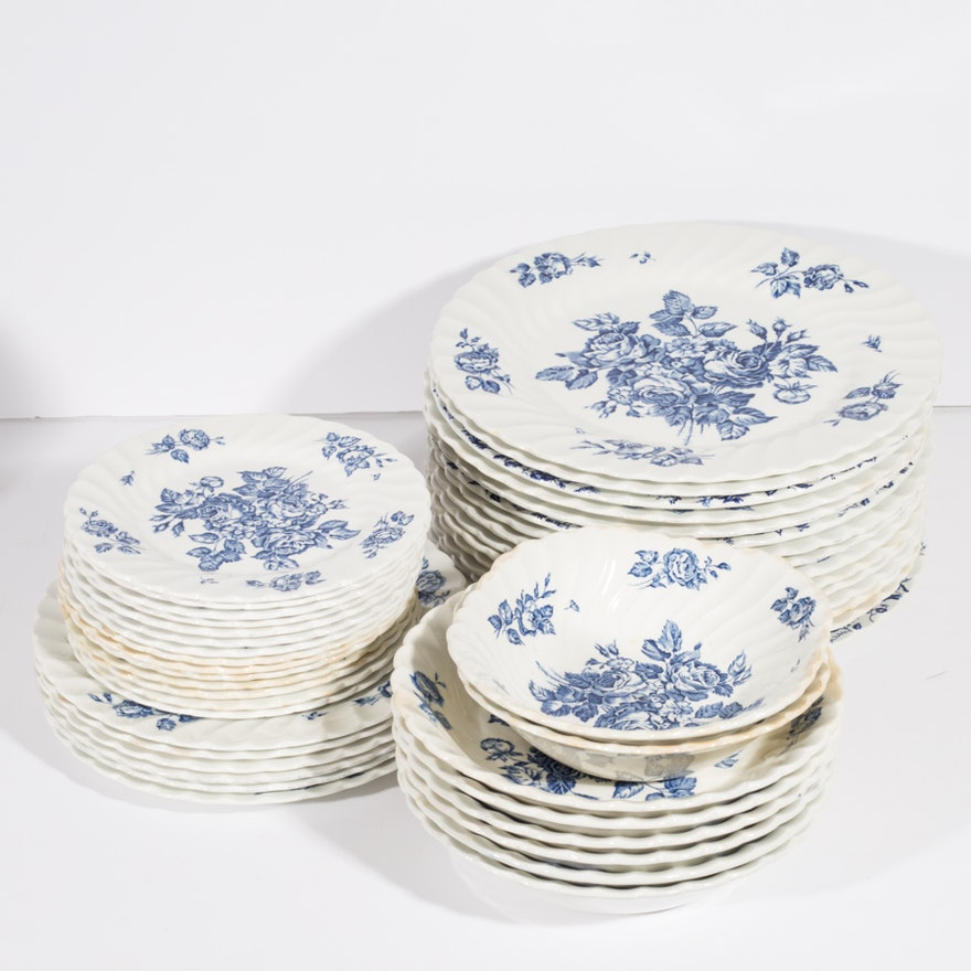 English Cabbage Rose Transferware Plates And Bowls