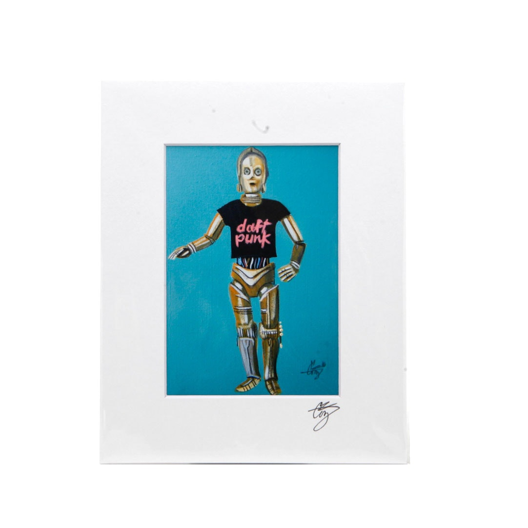 "El Gato Gomez Signed Giclee of C-3PO in a ""Daft Punk"" Shirt"