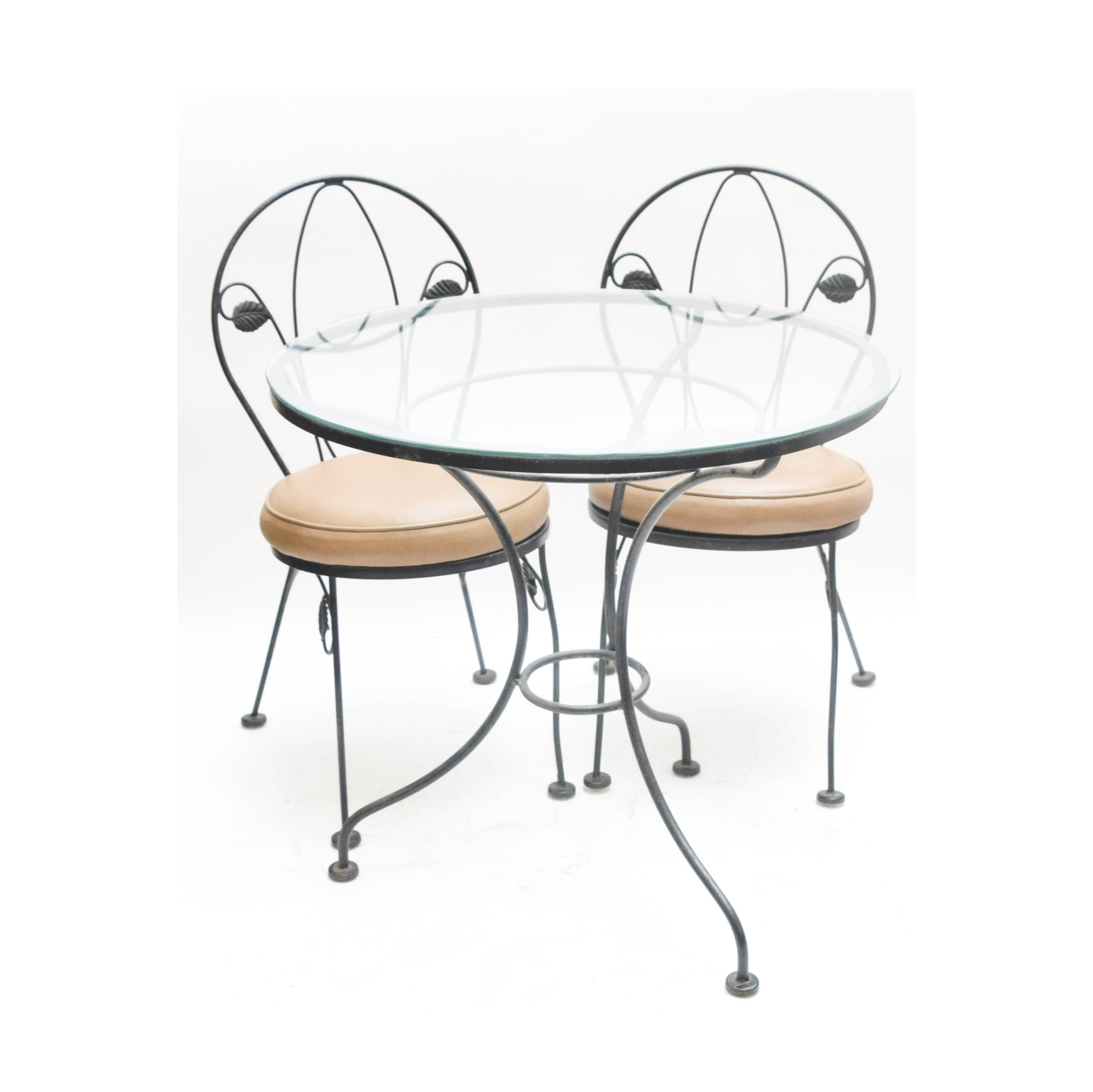 Wrought Iron and Glass Bistro Set