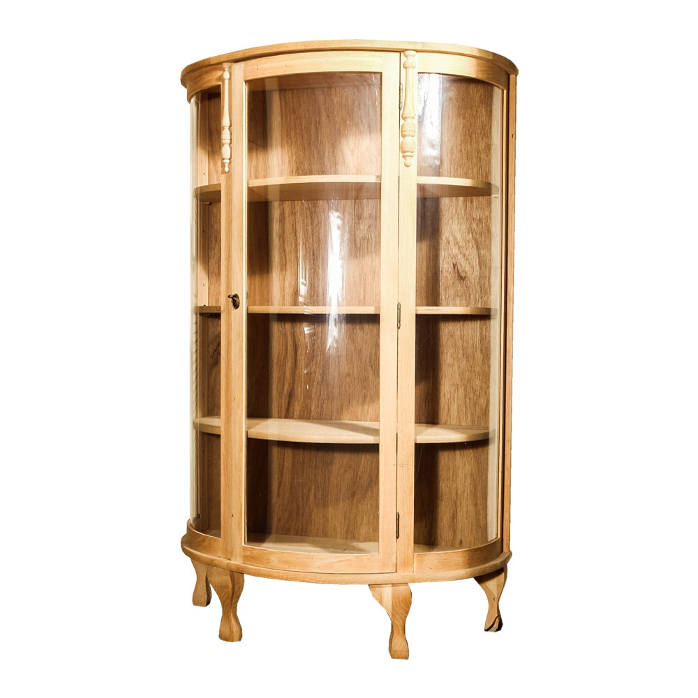 Elegant Natural Oak Curio Cabinet With Bowed Glass By Dawson Cabinet Company ...
