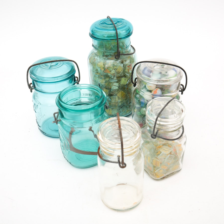 Mason Jar Decor Including Marbles
