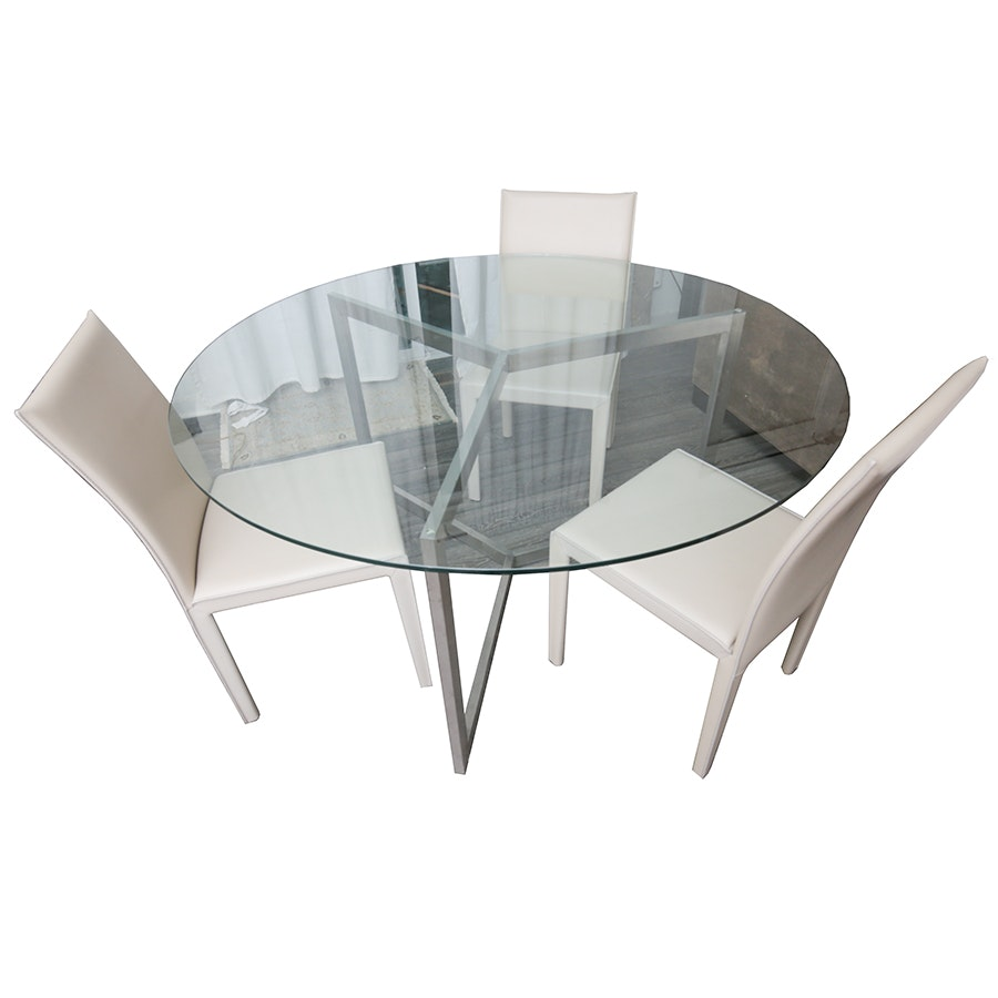Crate & Barrel Glass Table and Chairs