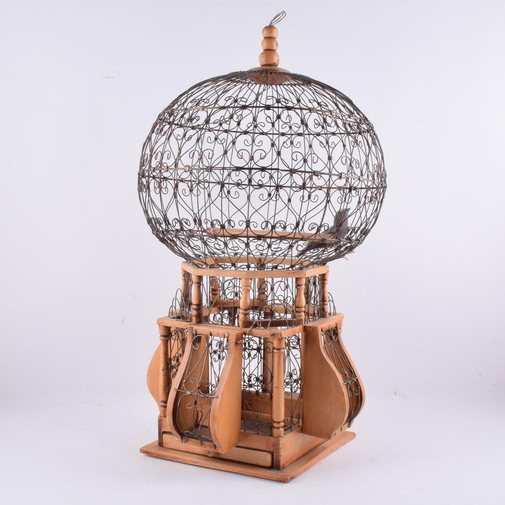 Vintage Metal And Wood Birdcage