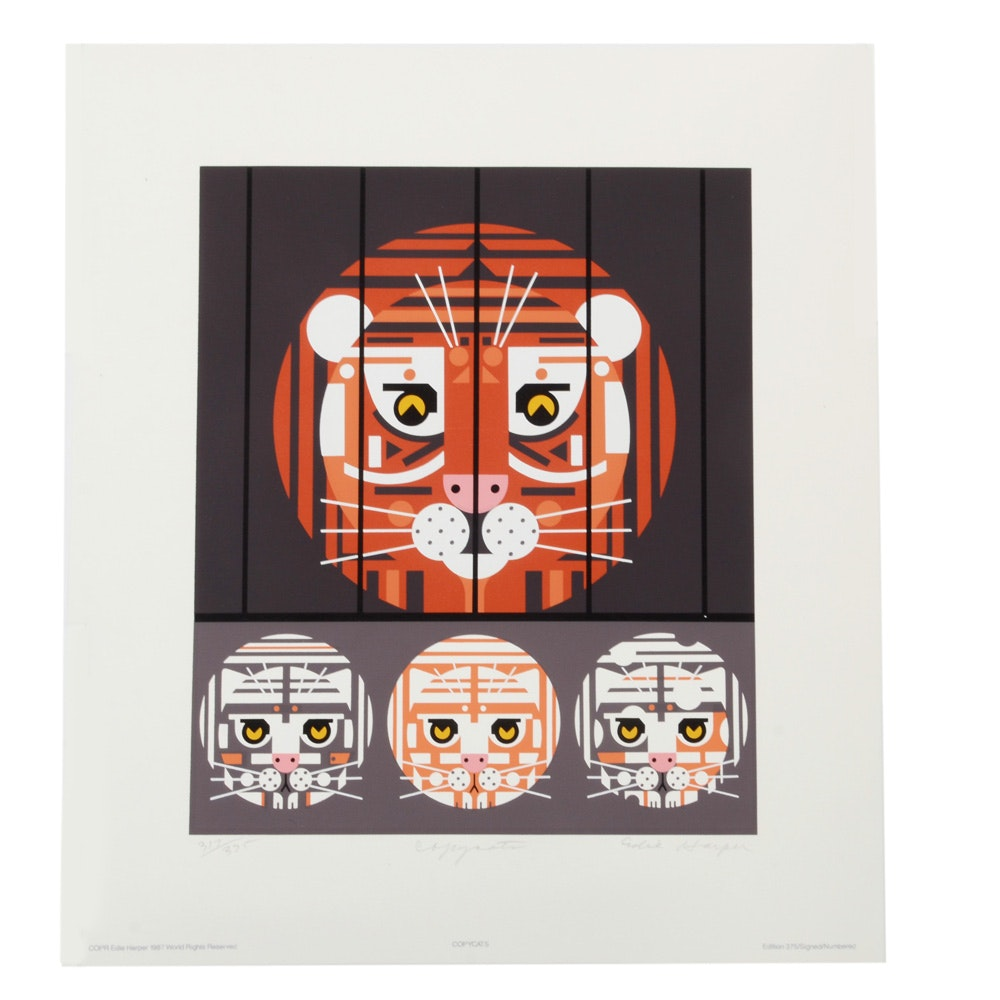 """Edie Harper Signed Limited Edition Serigraph """"Copycats"""""""