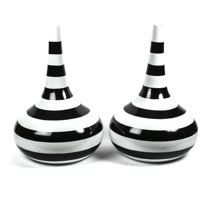 Black And White Striped Vases Ebth