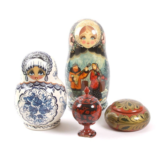 Russian Wooden Ware Matryoshka Dolls and Boxes