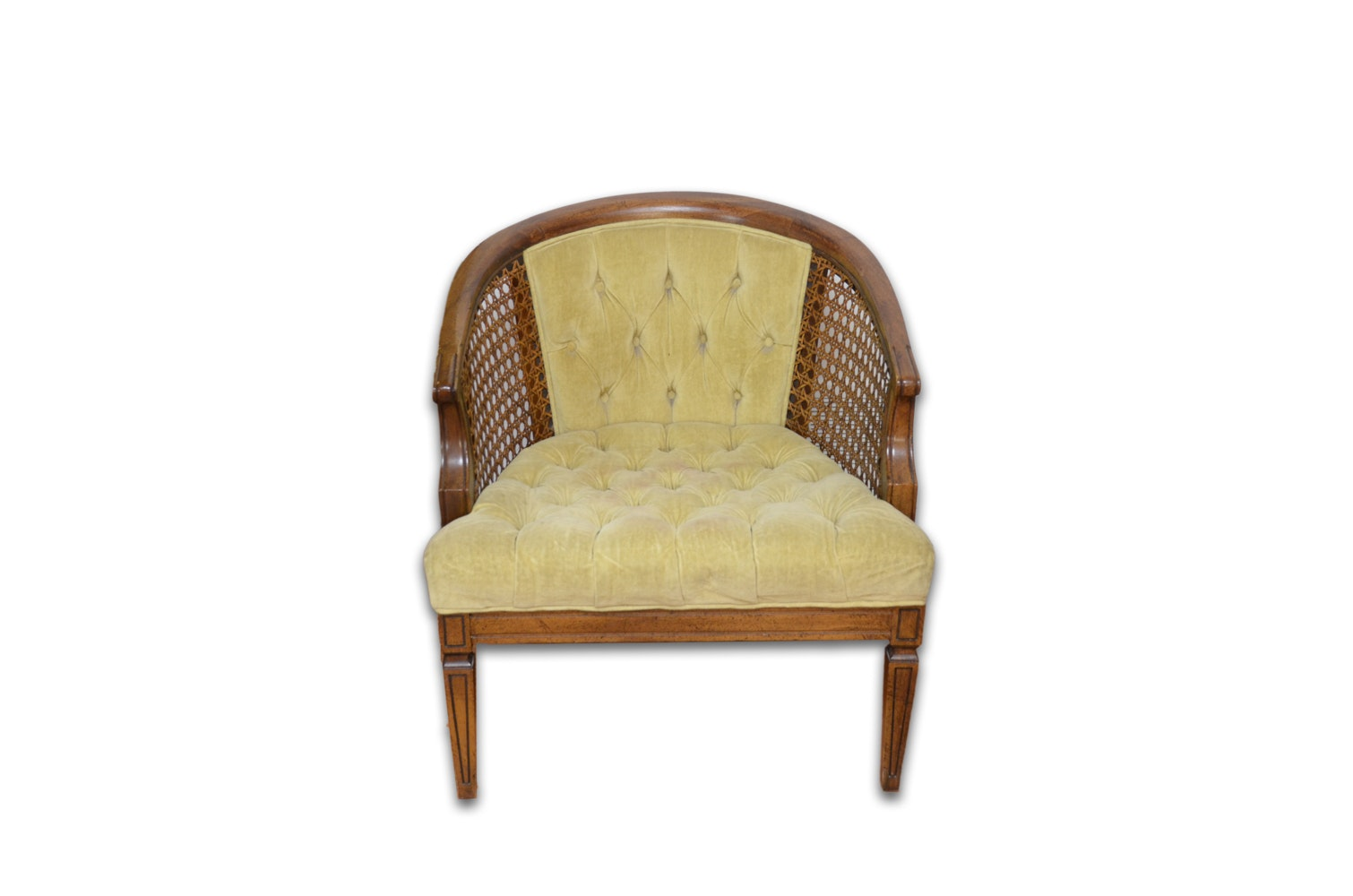 Mid-Century Barrel Back Chair with Cane Panels