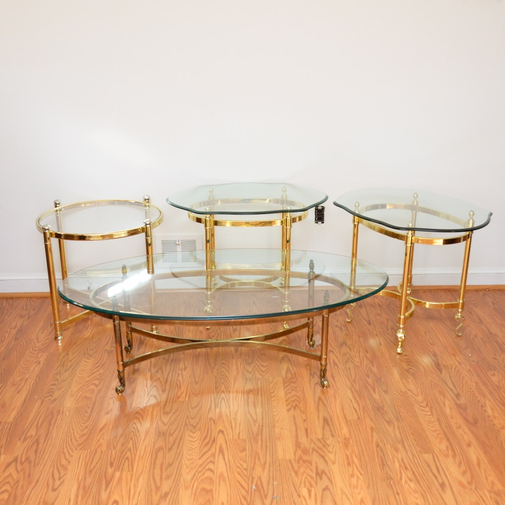 Vintage Hollywood Regency Style Glass Top Coffee Table and Side Tables