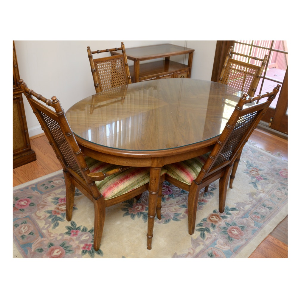 Oval Dining Table With Cane Back Chairs