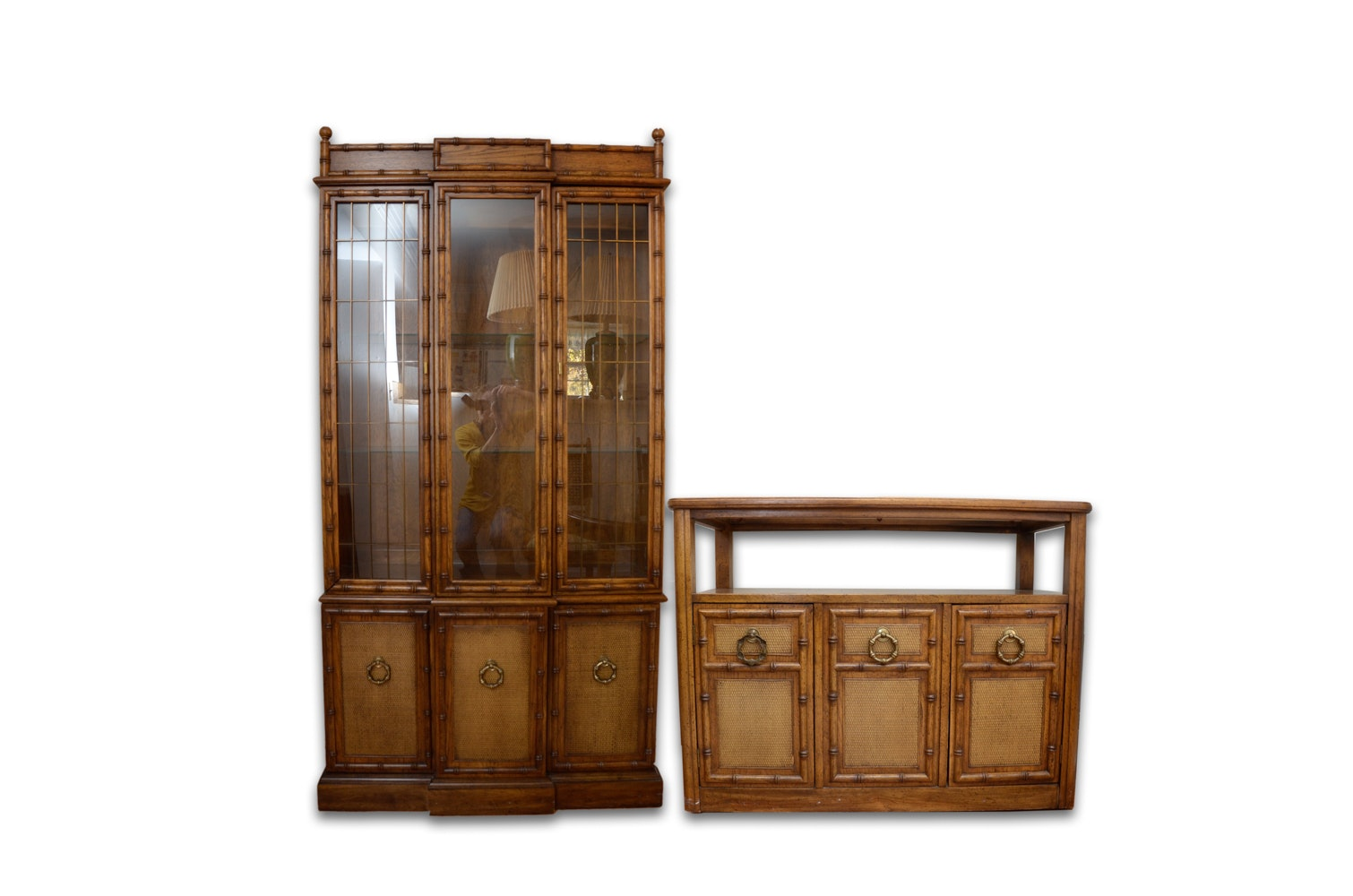 Mid-Century Faux Bamboo Cabinets