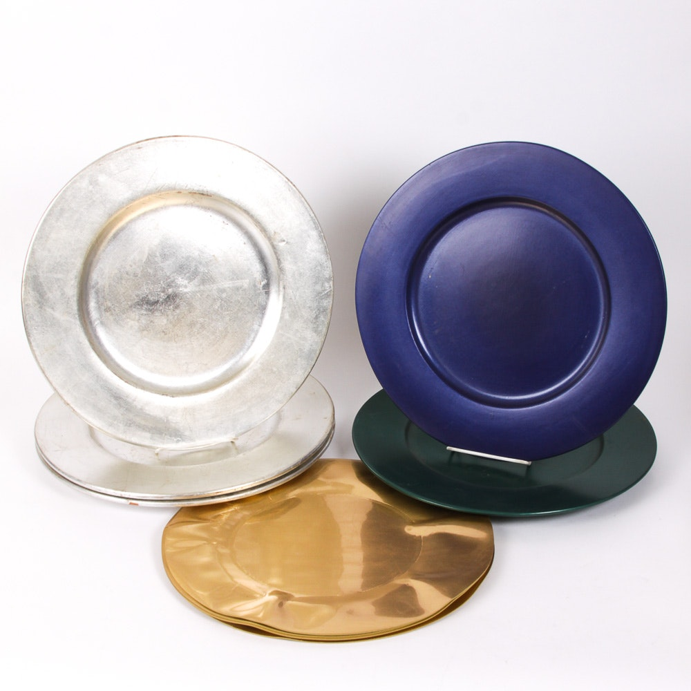 Variety of Decorative Lacquered Charger Plates