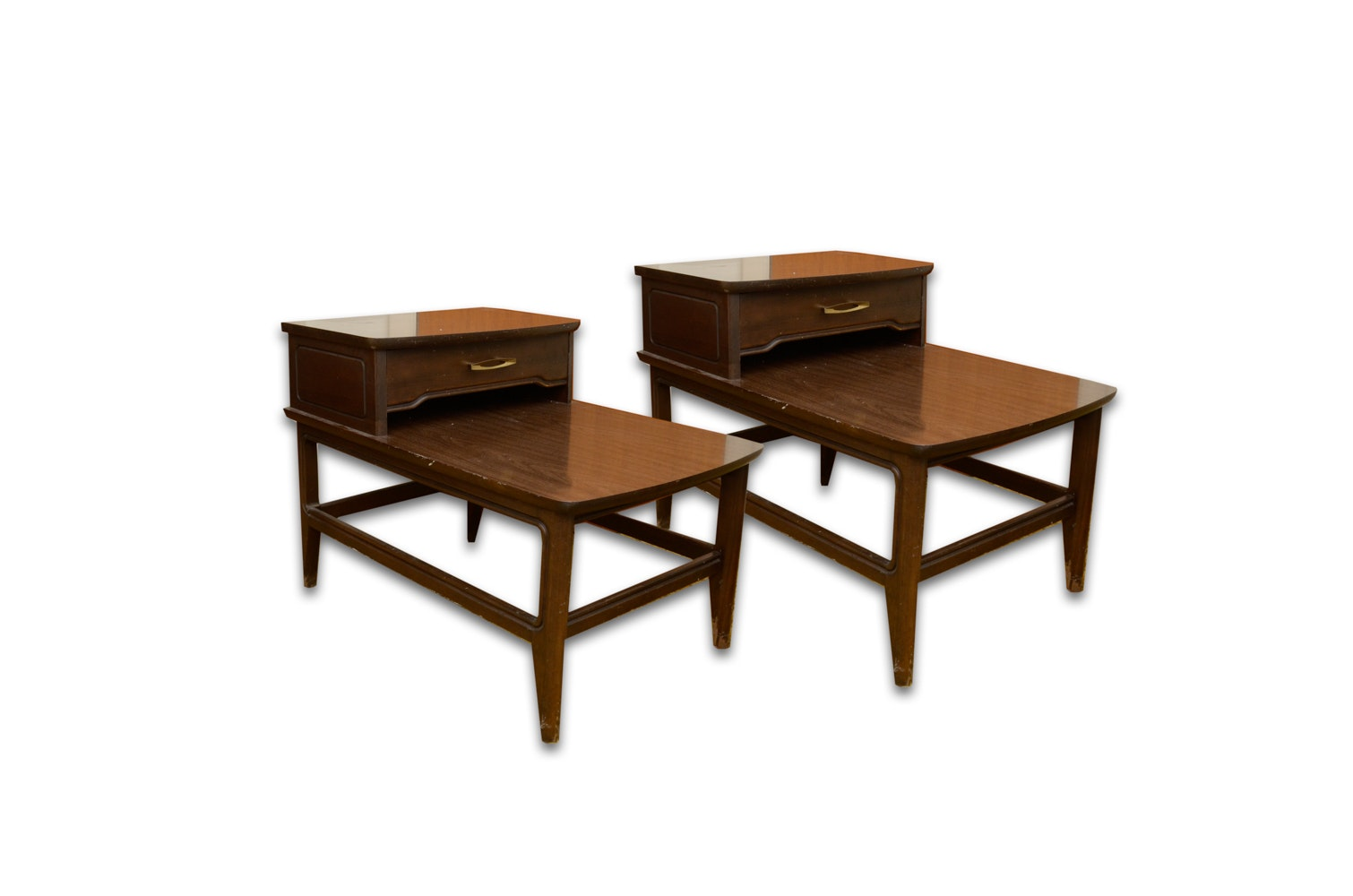 Vintage Mid-Century Mahogany Step Side Tables by Mersman