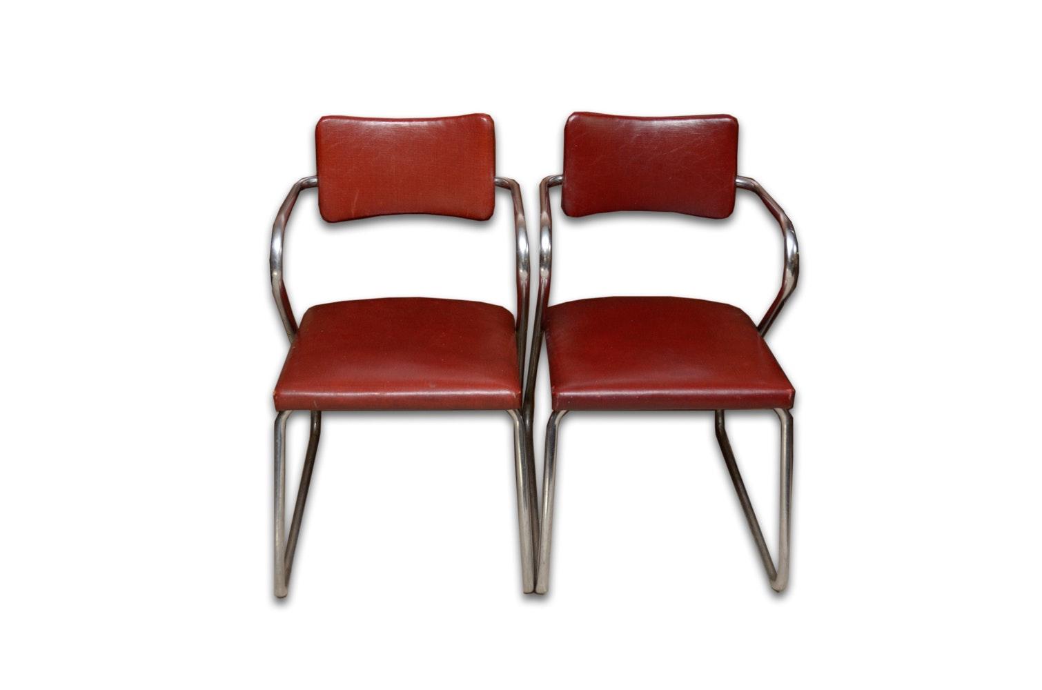 "Machine Age Tubular Chrome ""Z"" Chair Pair by Howell"
