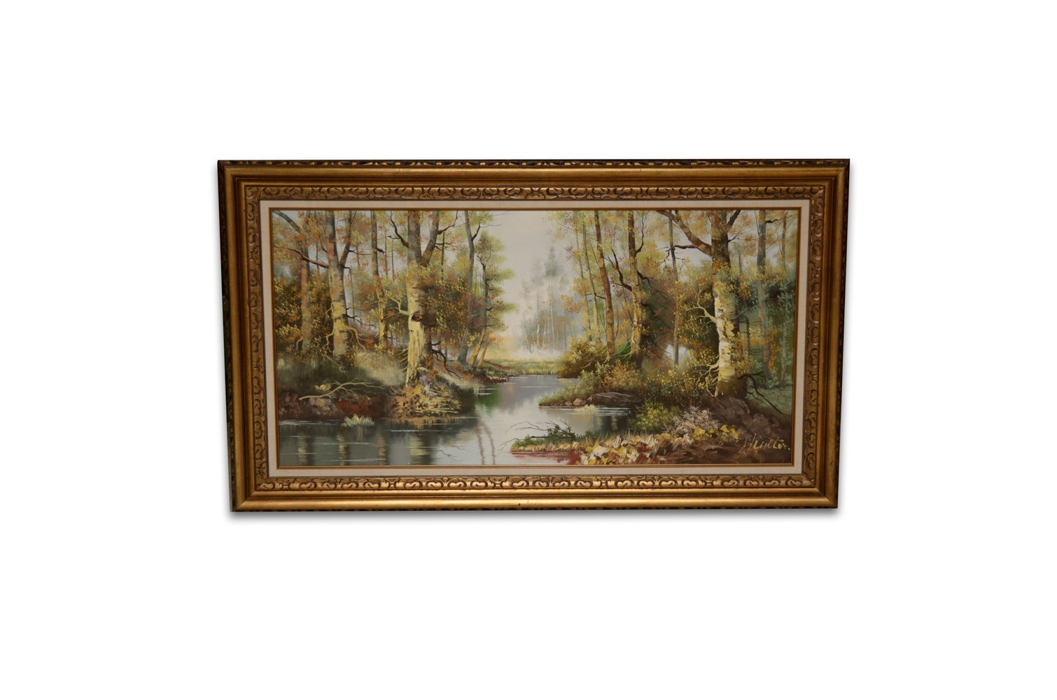 Hunter Oil Painting on Canvas of Forest Scene