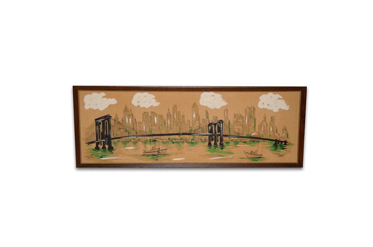 """Gardo Mid Century Painting """"New York Skyline"""""""