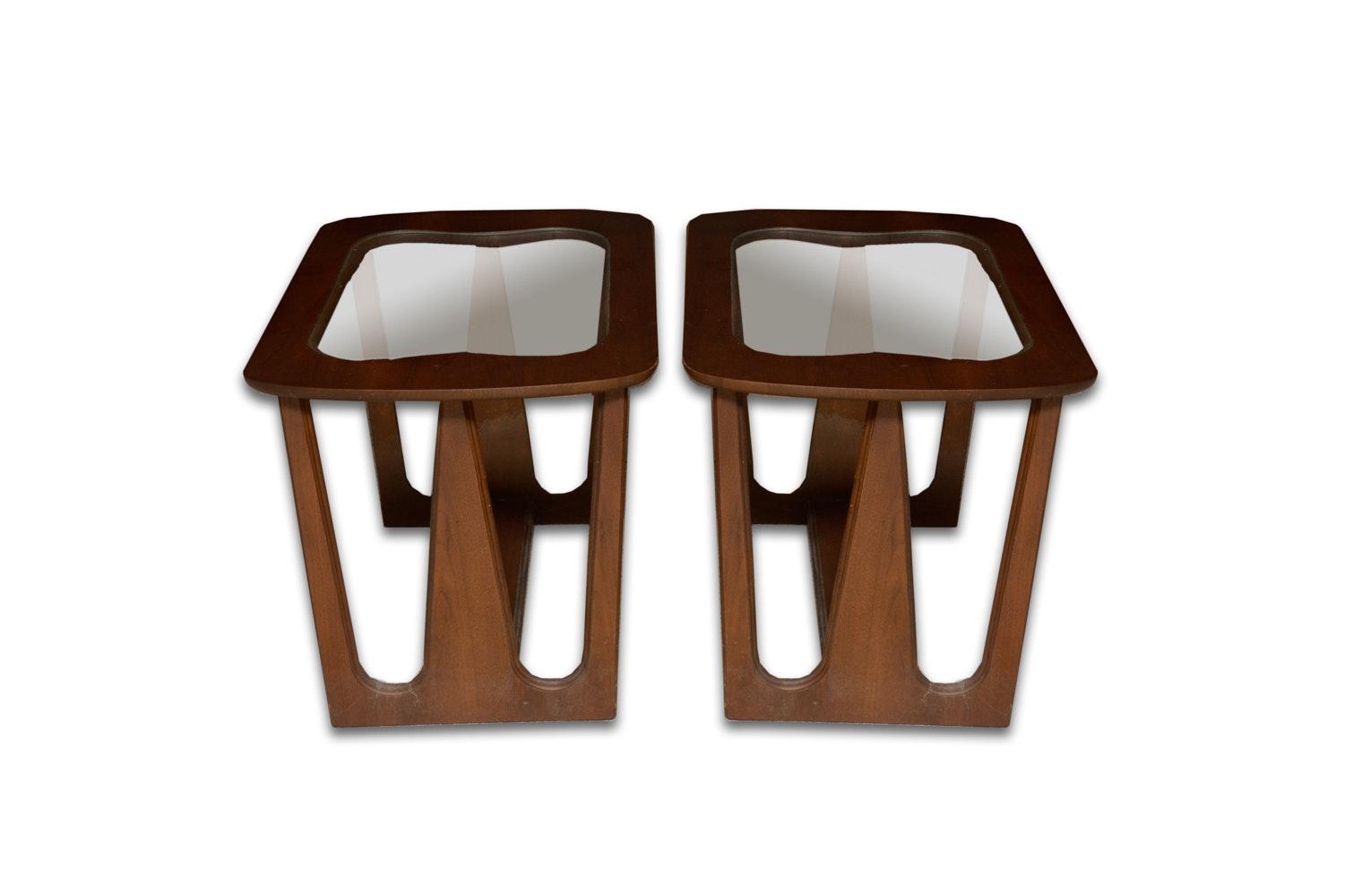 Danish Modern Glass Top Side Tables
