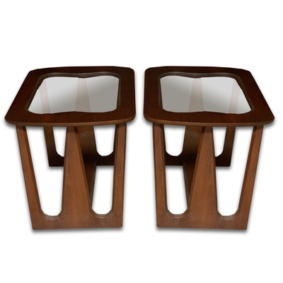 Danish Modern Glass Top Side Tables - Online Furniture Auctions Vintage Furniture Auction Antique