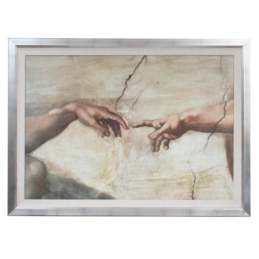 "Offset Lithograph on Canvas After Michelangelo's ""The Creation of Adam"""
