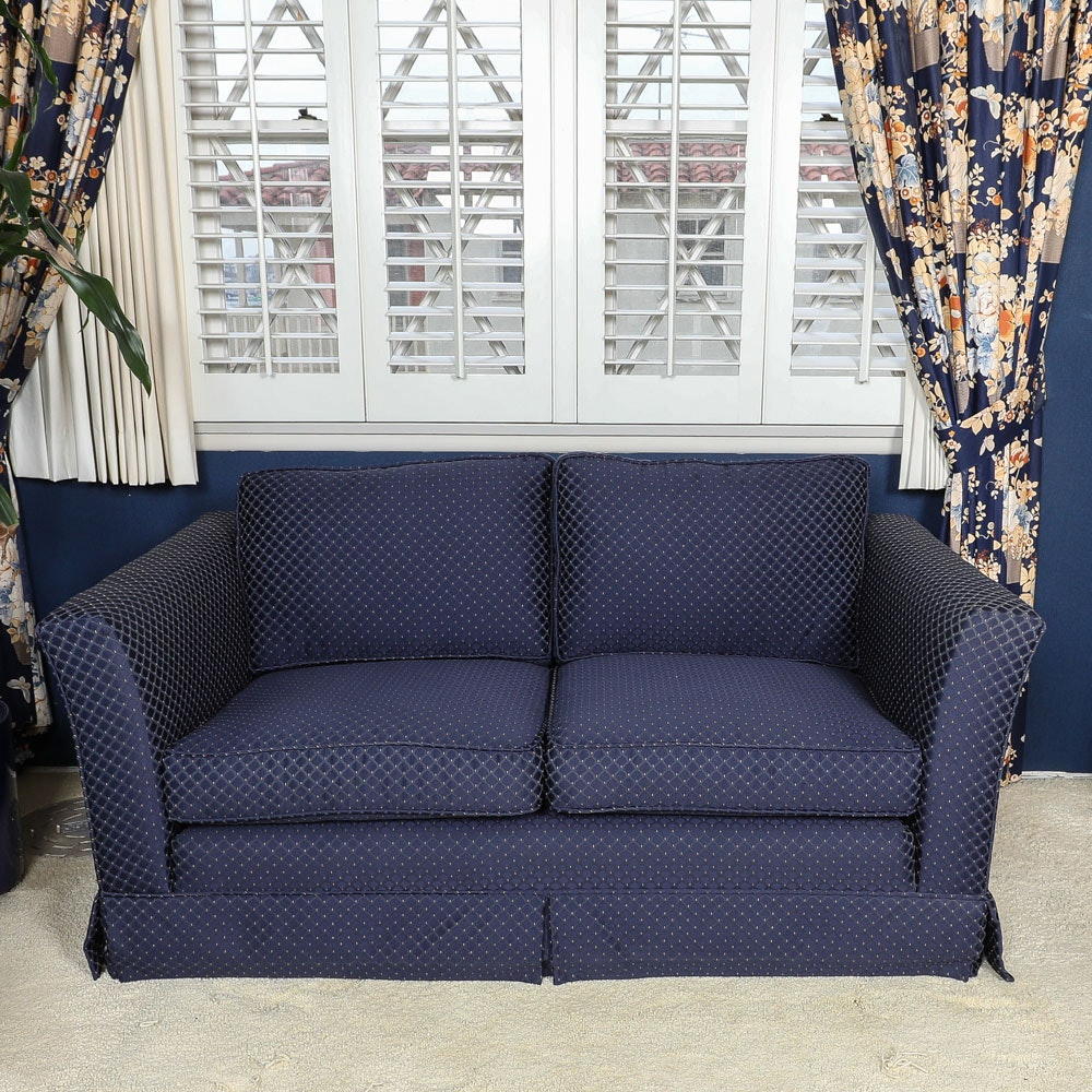 Vintage Geometric Pattern Navy Blue Loveseat with Floral Throw Pillows