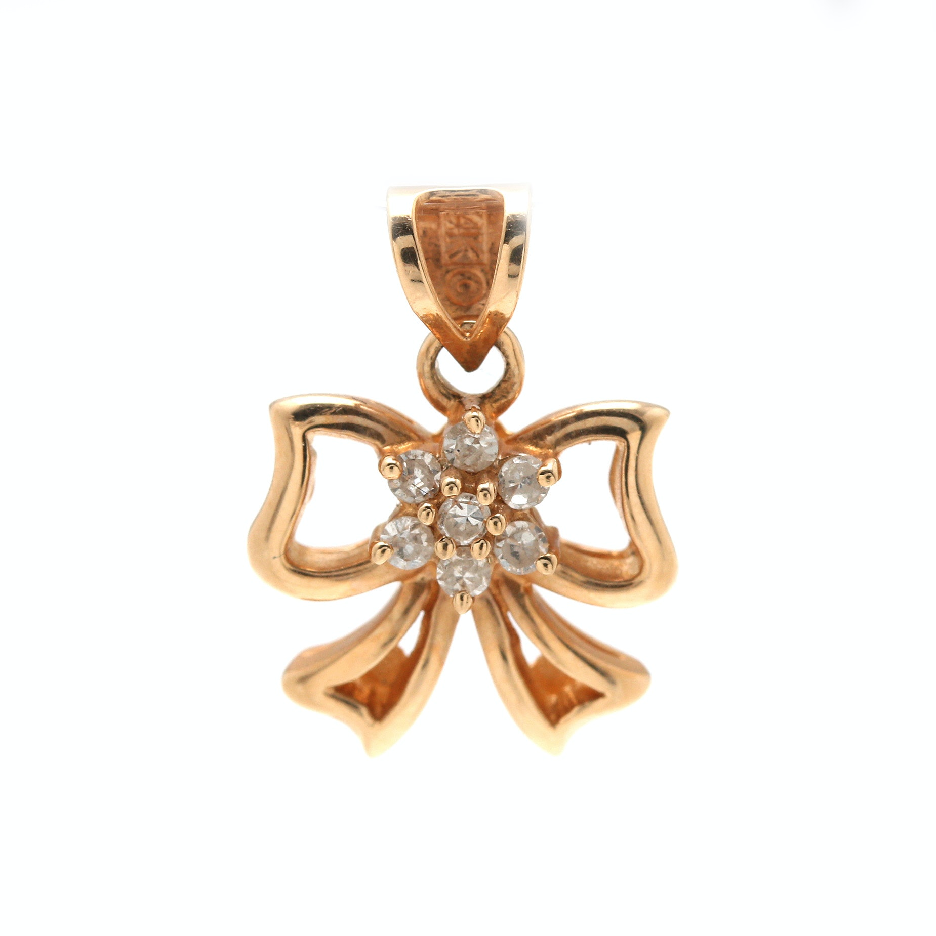 14K Yellow Gold Diamond Bow Pendant