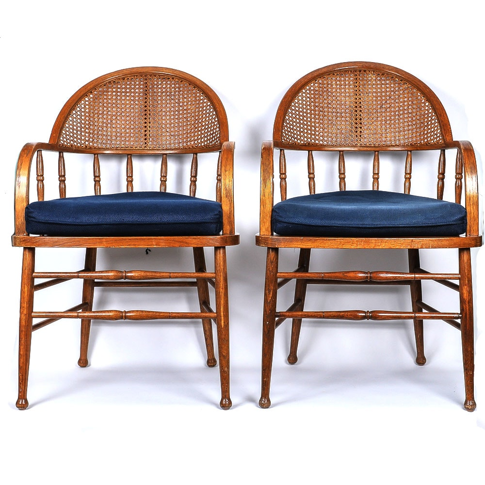 Pair of Vintage Wooden Armchairs with Wicker Back and Navy Blue Seat Cushions