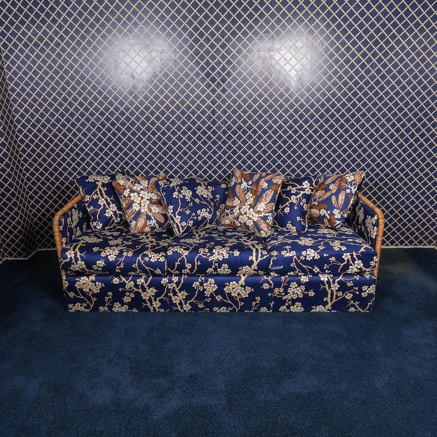 Vintage Sleeper Sofa With Asian Islander Floral Print
