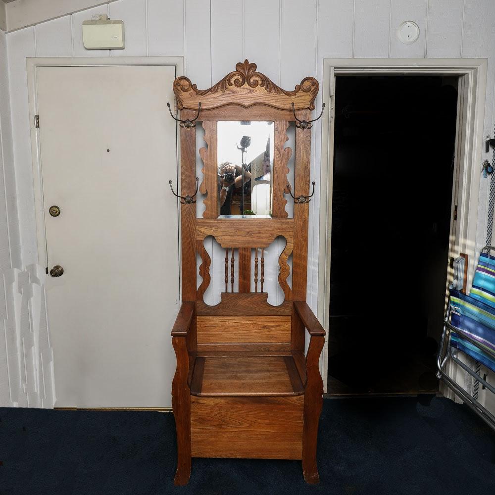Vintage Hall Tree with Seat