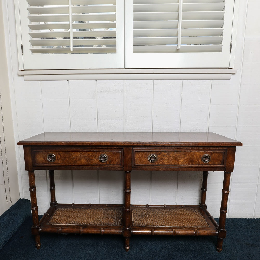 Vintage Bamboo Motif Console Table