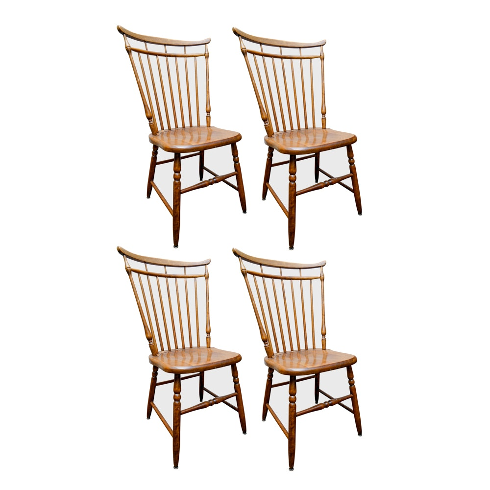 Four Maple Windsor Style Dining Side Chairs