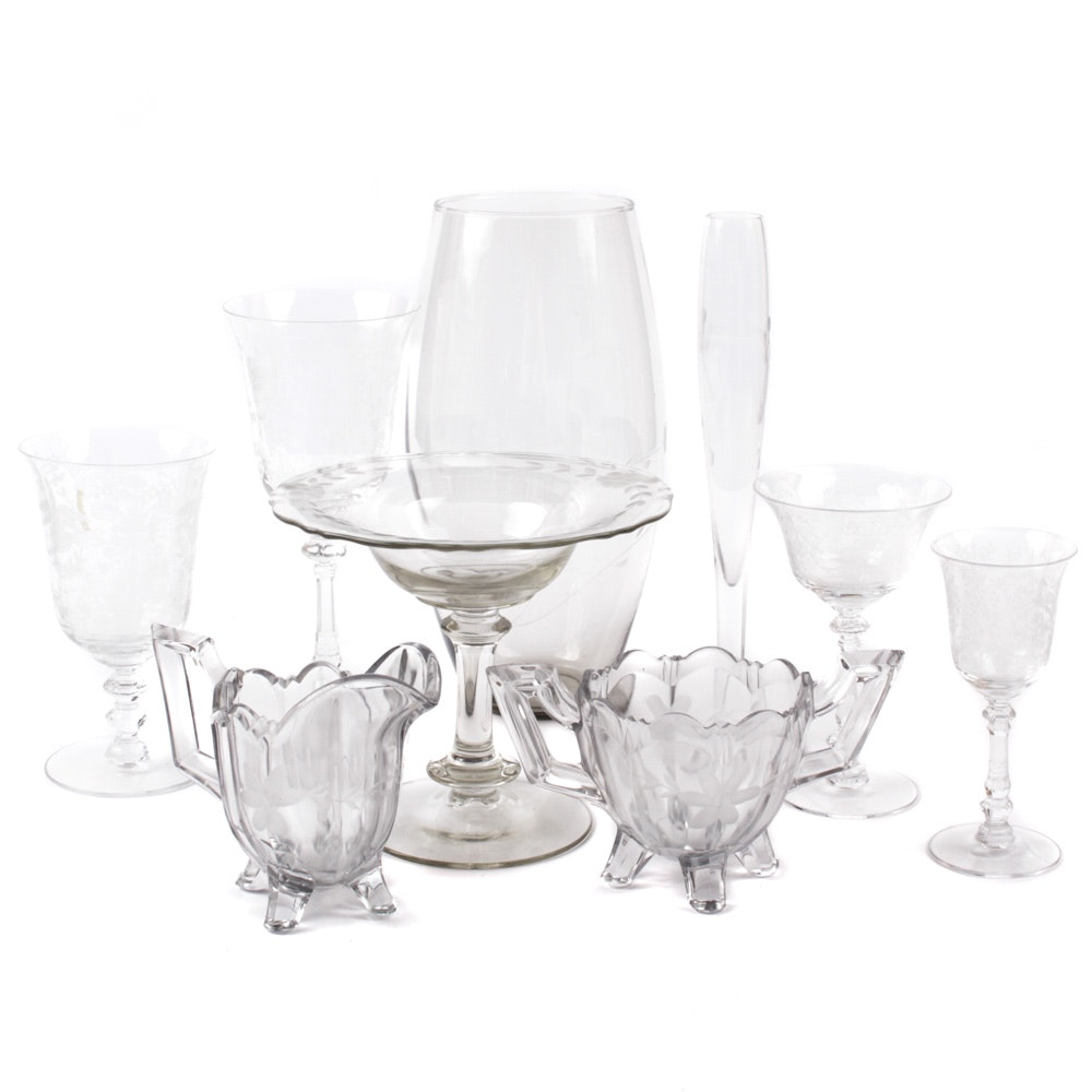 Vintage Etched Glassware Featuring Heisey