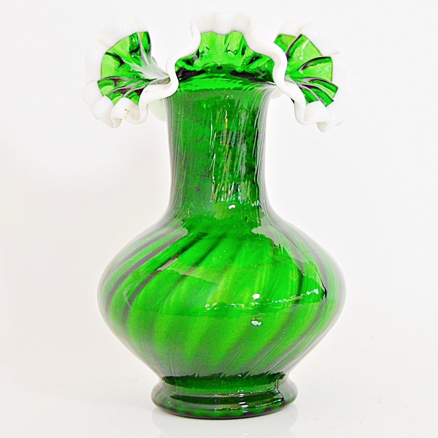 Vintage Fenton Green Glass Vase Ebth