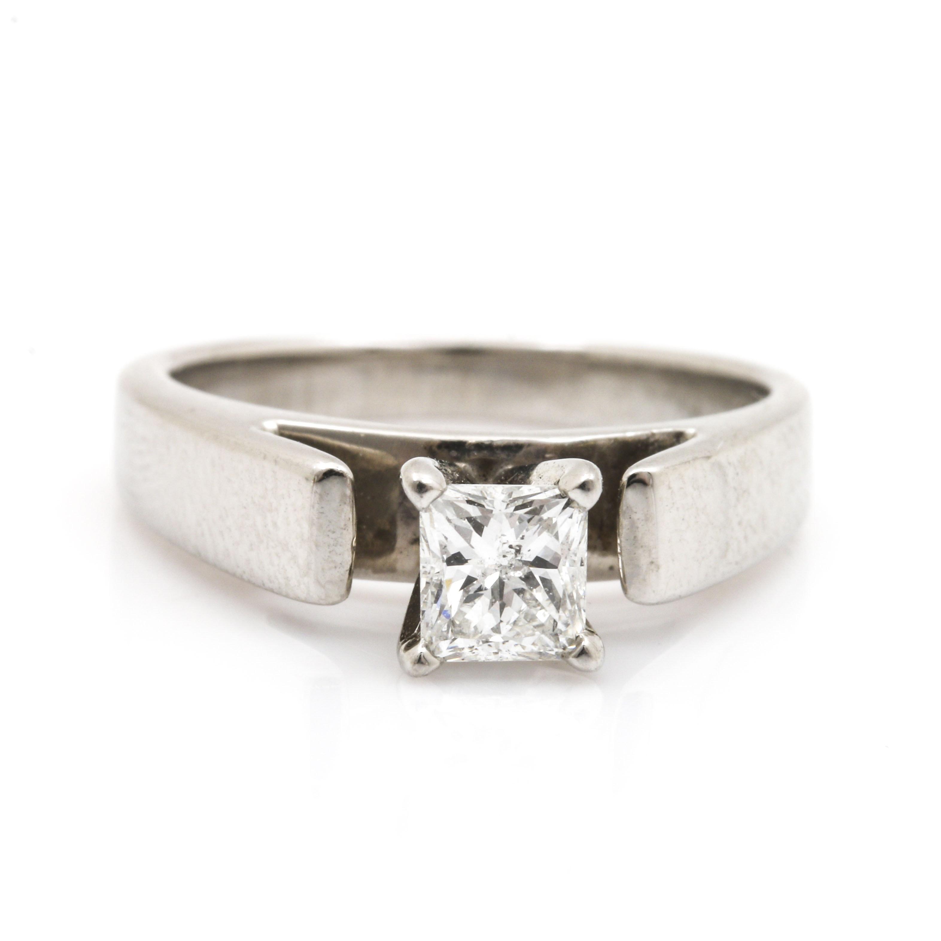 Platinum 0.50 CT Diamond Solitaire Ring