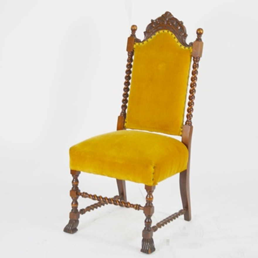 Antique William and Mary Style High Back Chair ... - Antique William And Mary Style High Back Chair : EBTH