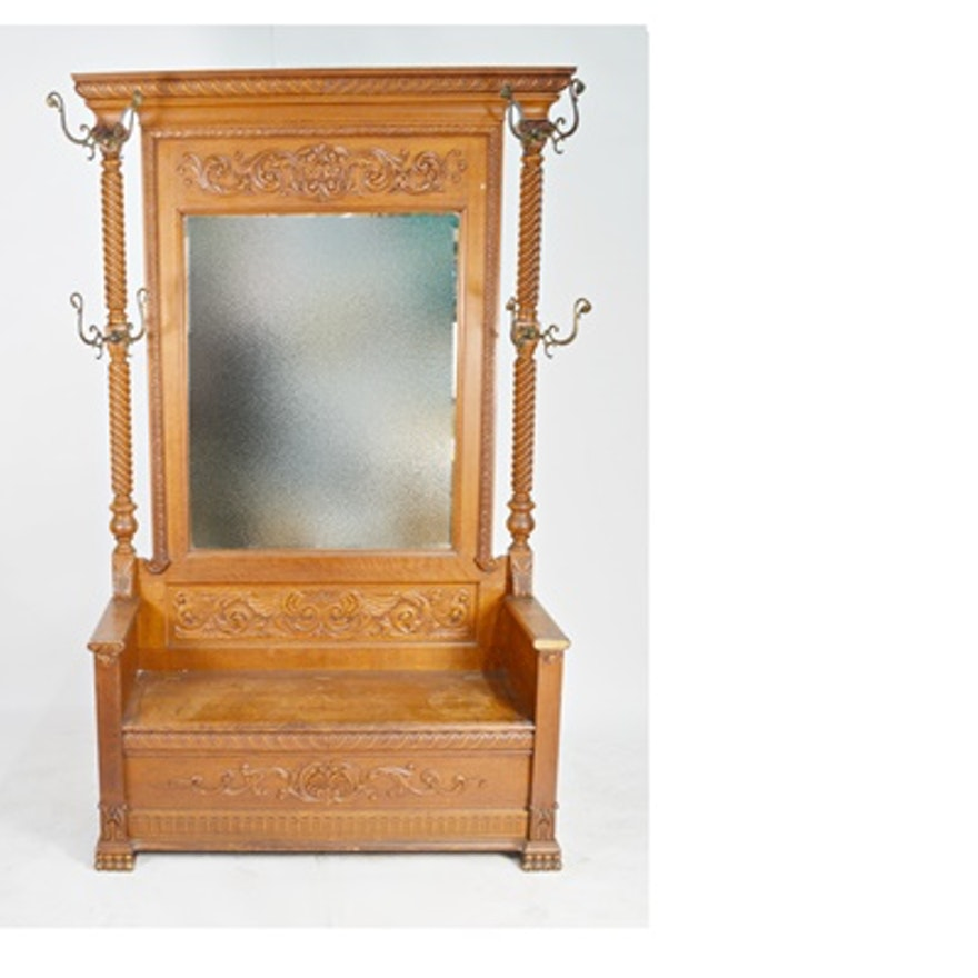 Cool Antique Oak Hall Tree With Bench Seat Machost Co Dining Chair Design Ideas Machostcouk