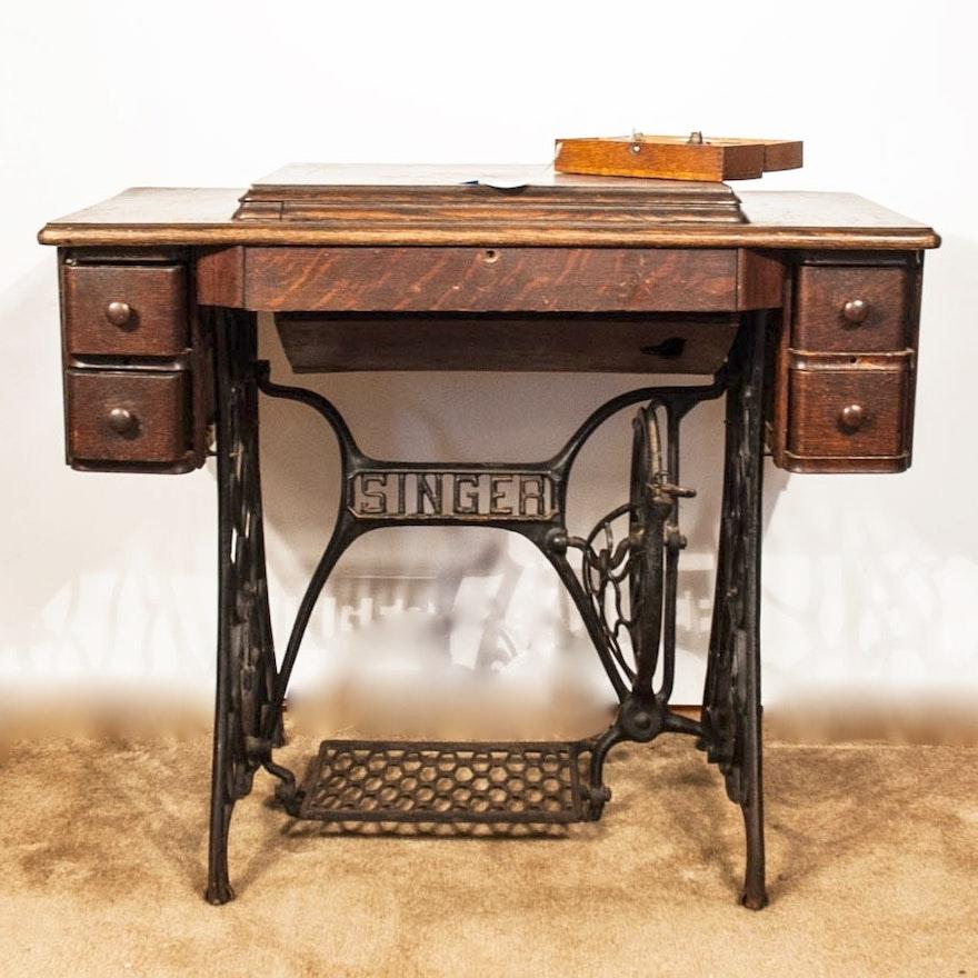 Antique Singer Treadle Sewing Machine in Oak Veneer ...