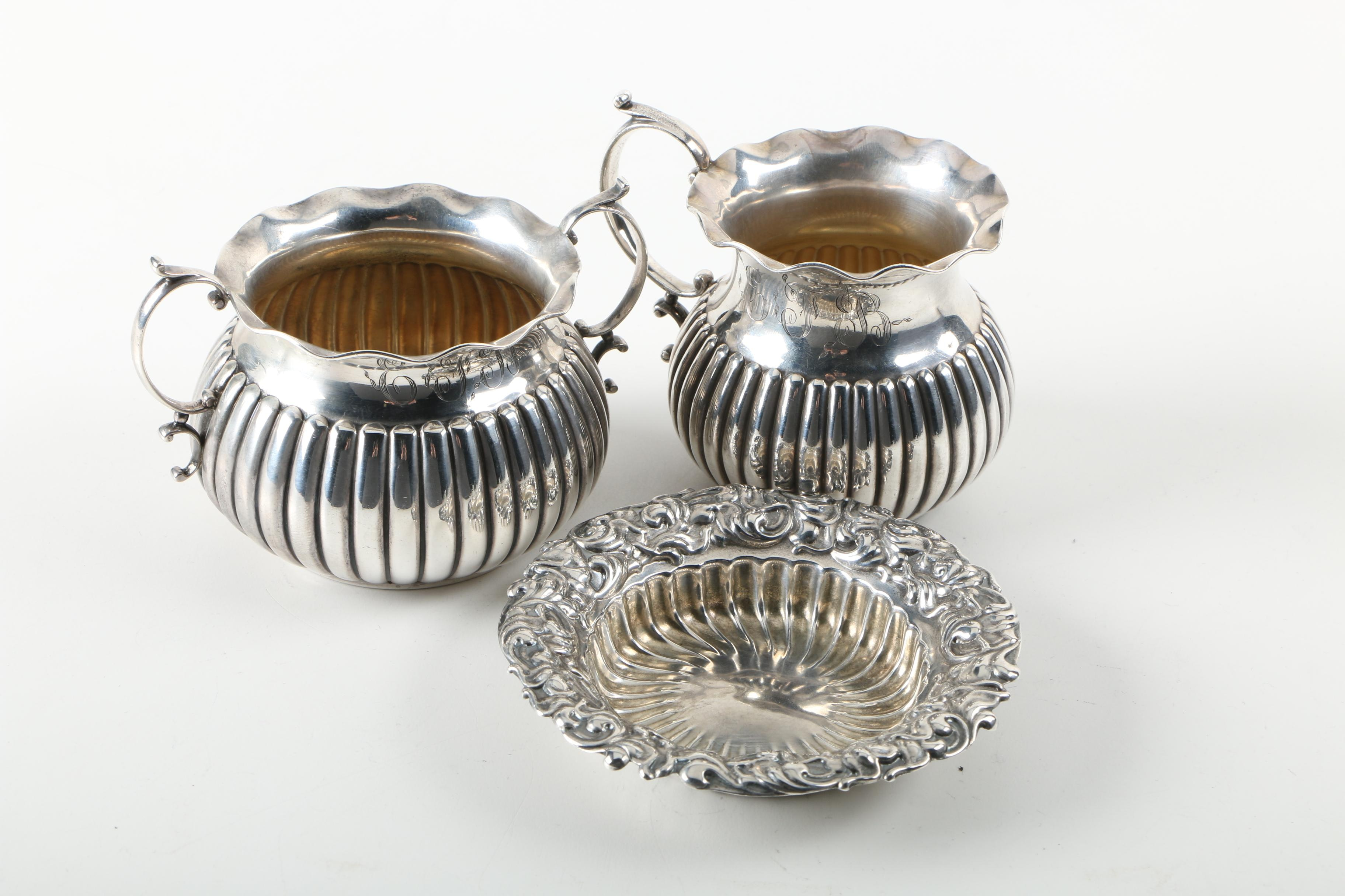 Whiting Mfg. Co. Sterling Silver Creamer, Sugar Bowl, and Dish