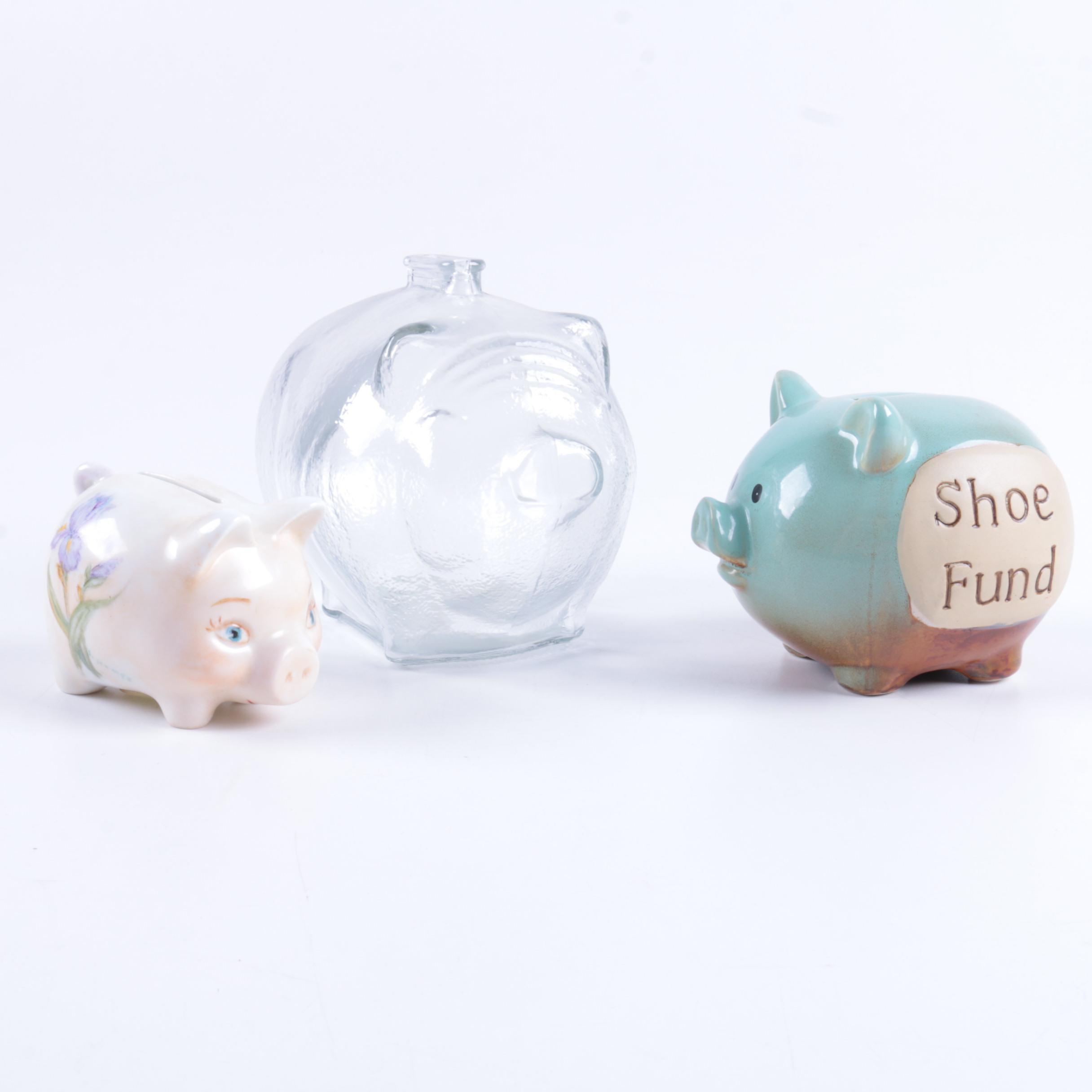 Ceramic and Glass Piggy Banks