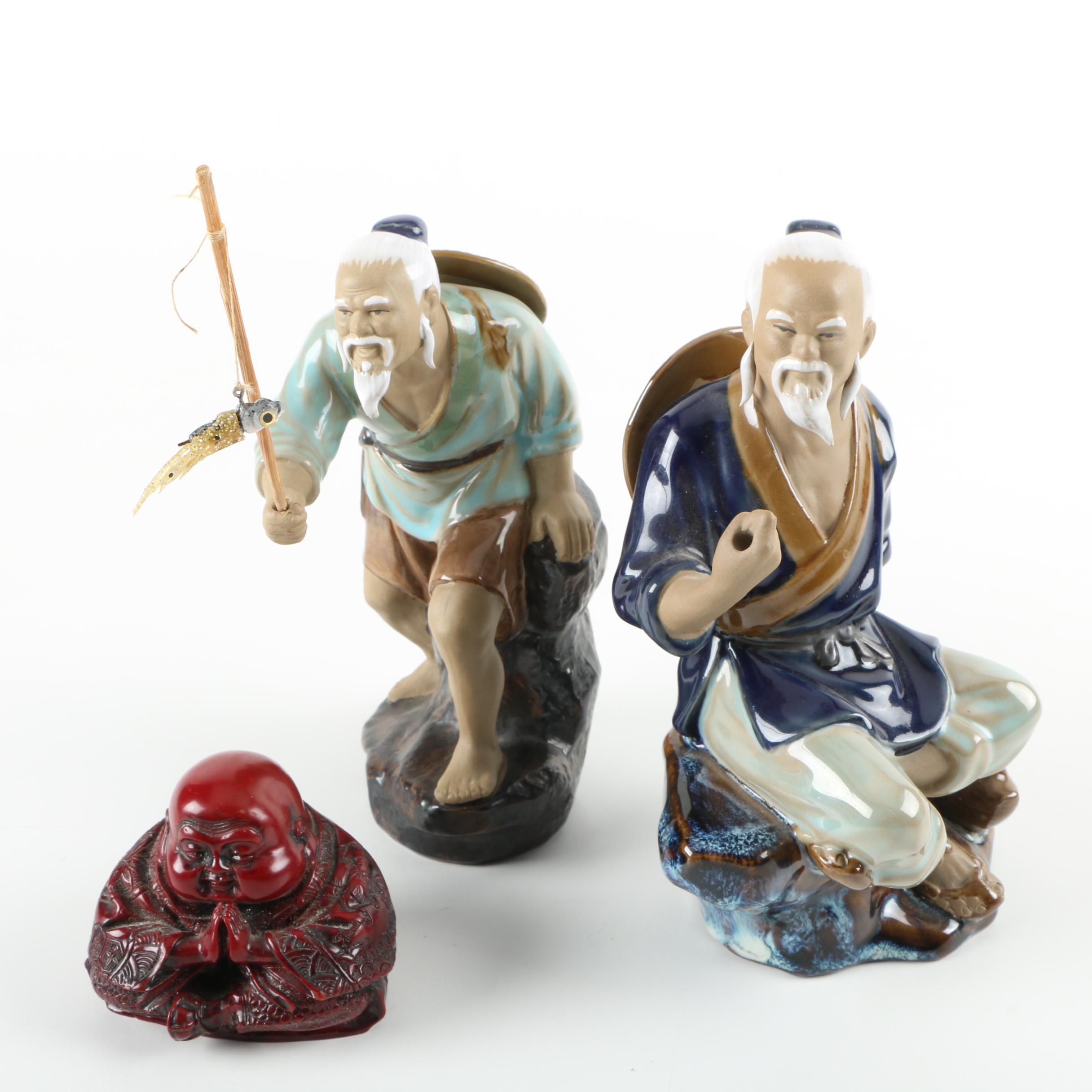 Chinese Wanjiang Fishermen and Resin Buddha Figurine