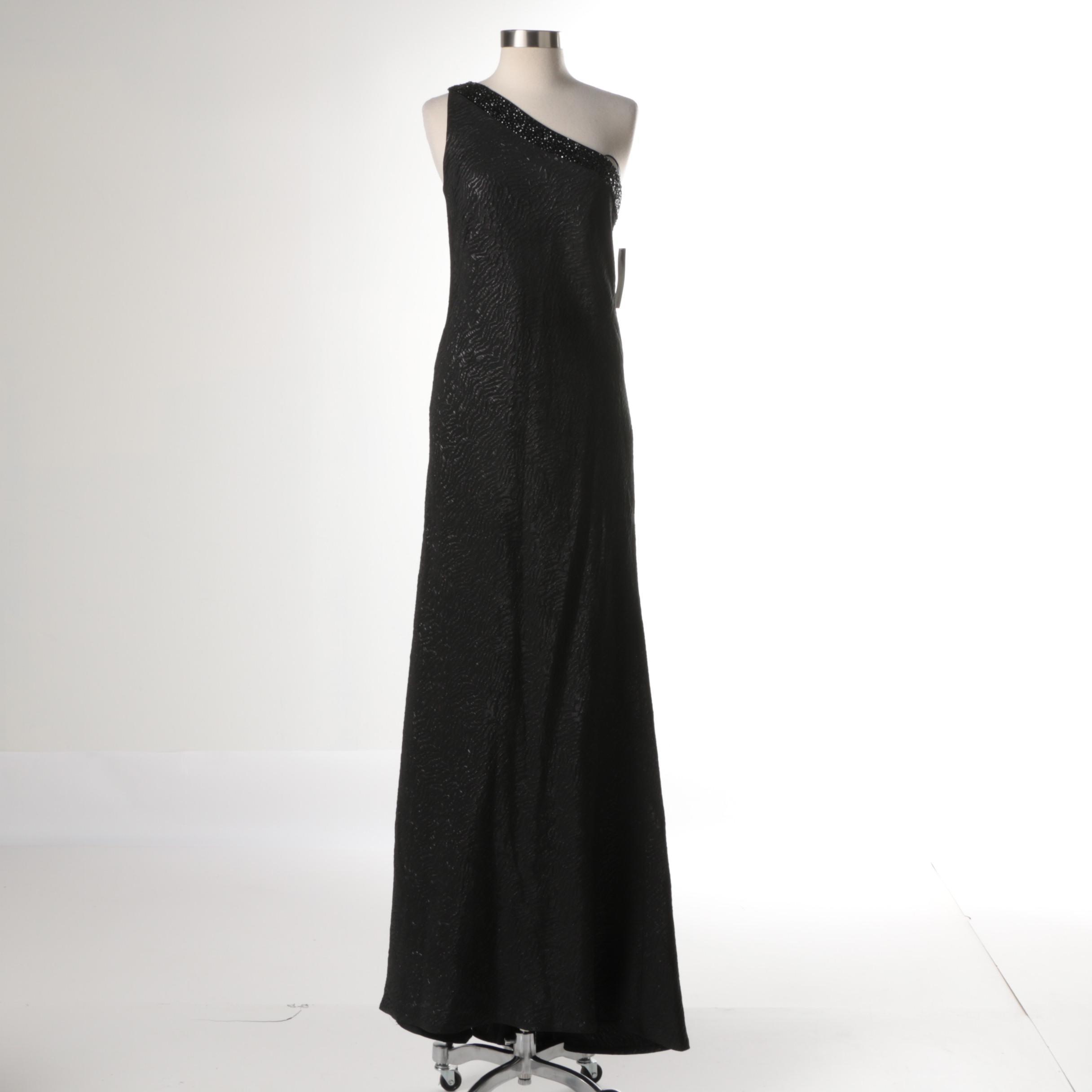 Carmen Marc Valvo Black One-Shoulder Evening Dress