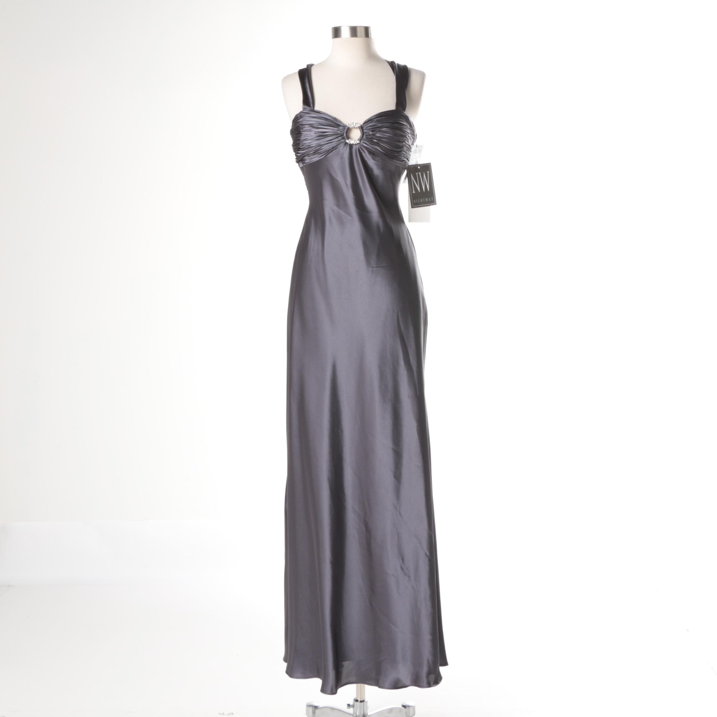 Nightway Gray Satin Sleeveless Formal Gown