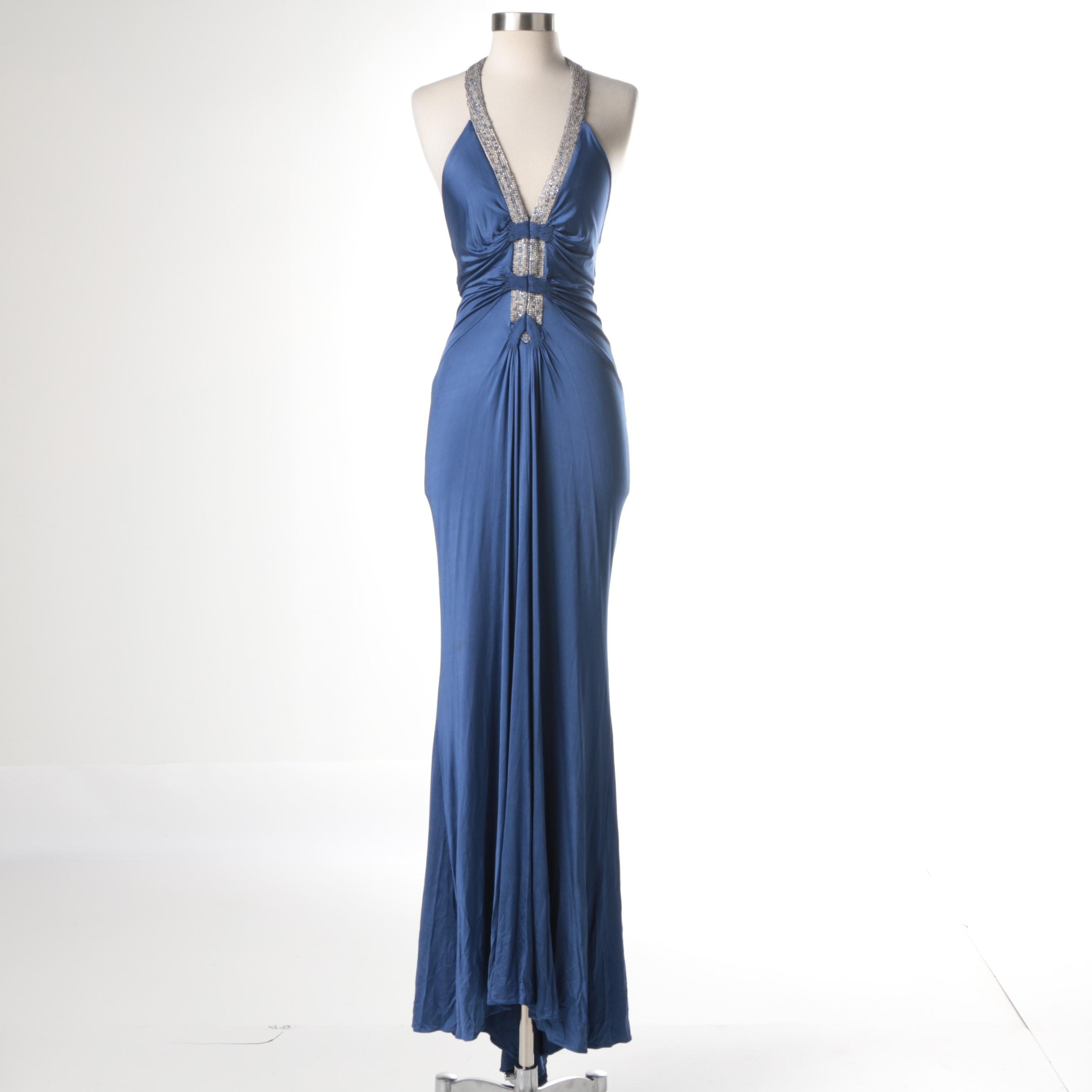 Roberto Cavalli Rhinestone Neckline Evening Dress