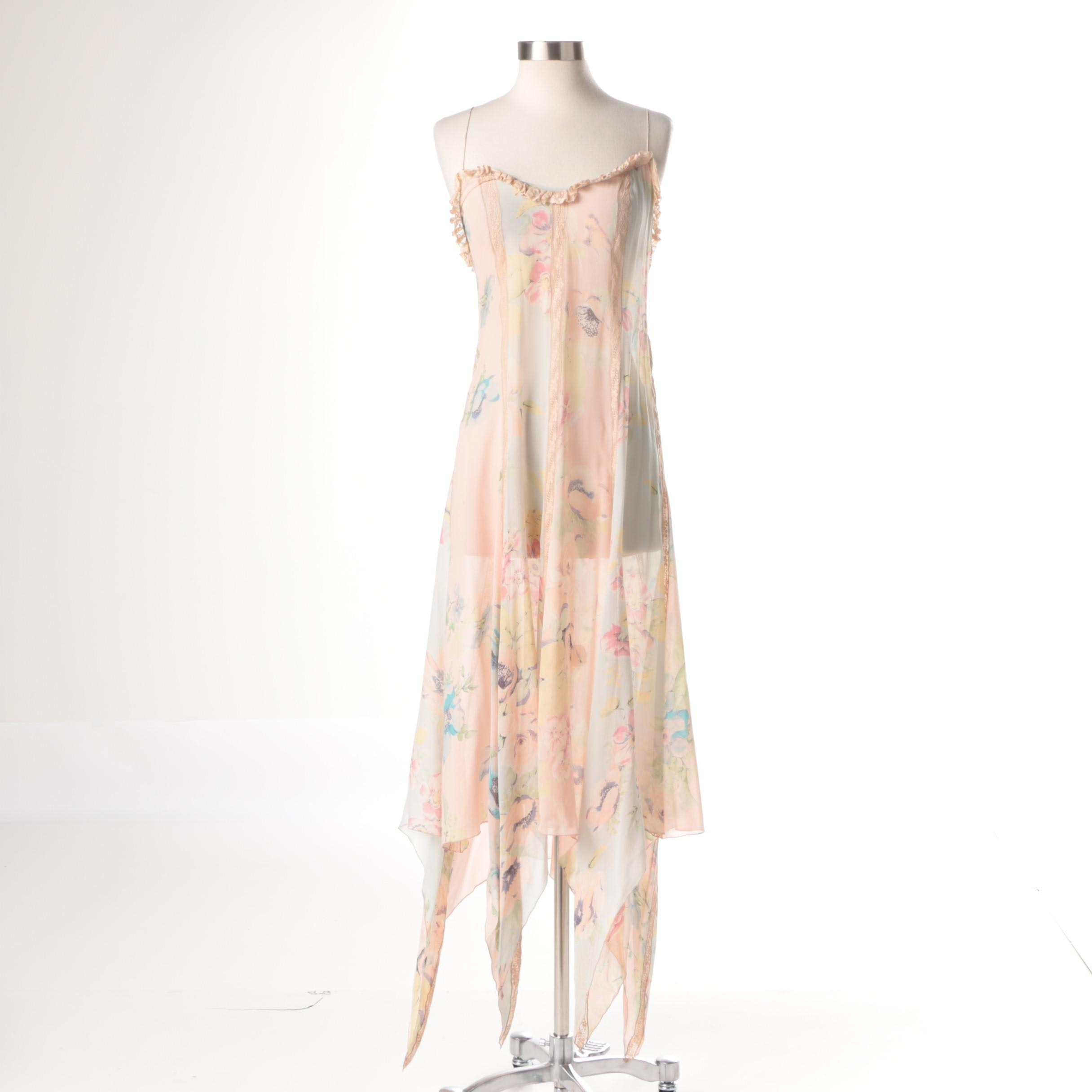 Blumarine Sheer Silk Slip Dress