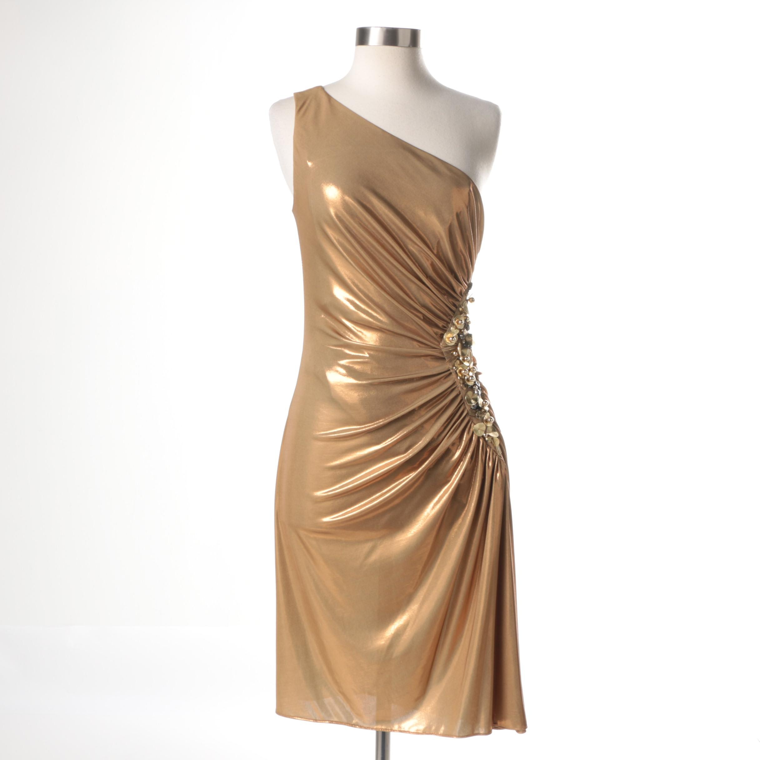 Robert Rodriguez Gold Lamé One Shoulder Dress