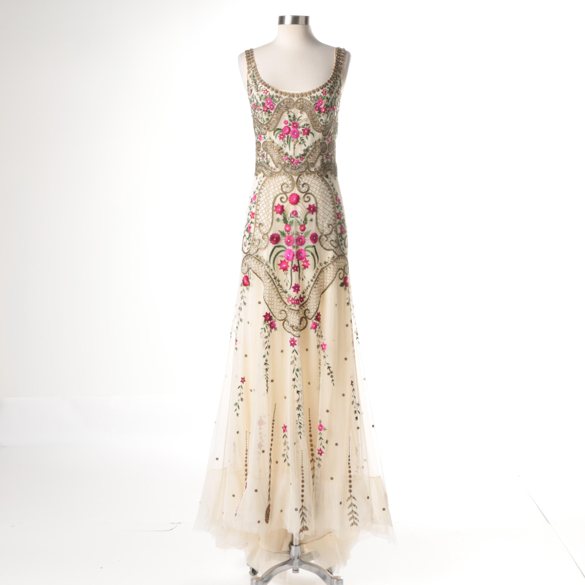 Reem Acra Beaded and Floral Embroidered Floor Length Gown
