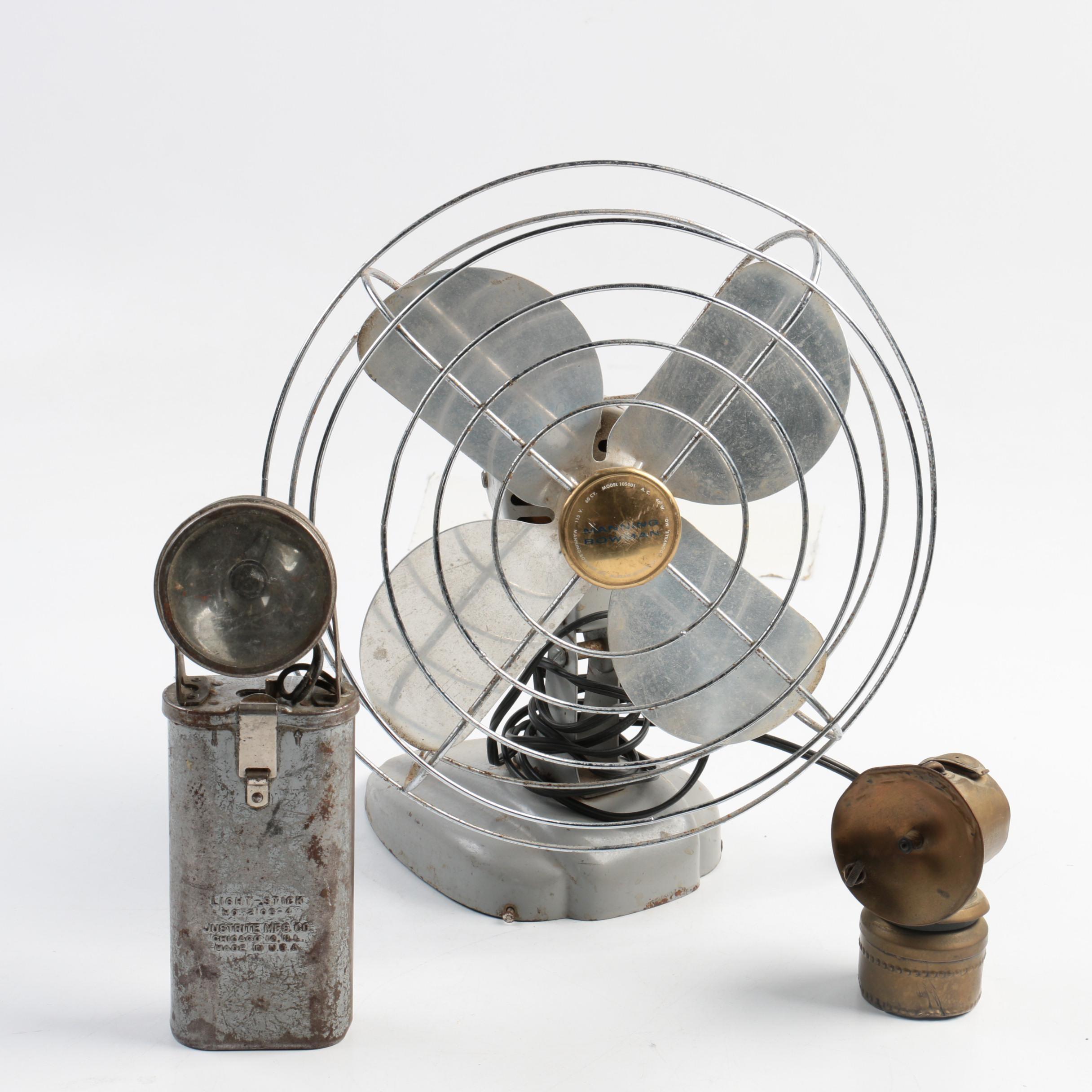 Antique Justrite Mining Lamp, Vintage Light-Stick, and Manning Bowman Desk Fan