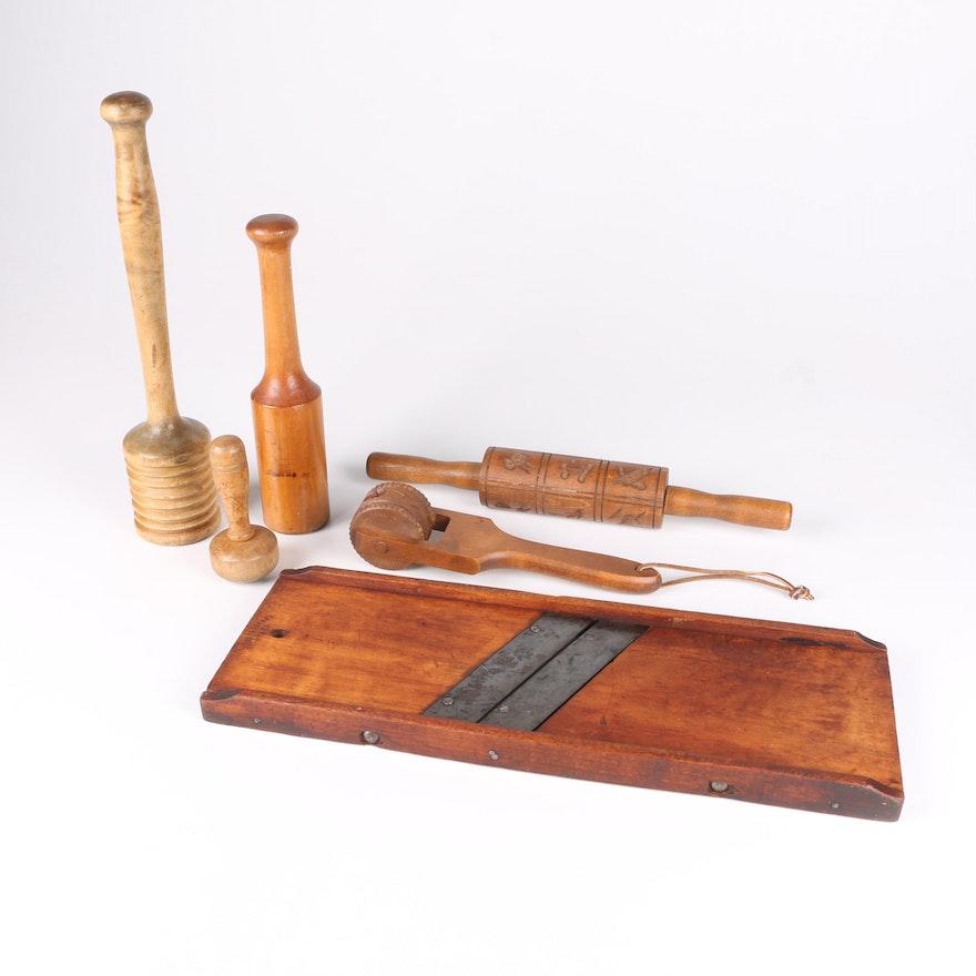Antique and Vintage Wooden Kitchen Tools Including Mandoline Slicer
