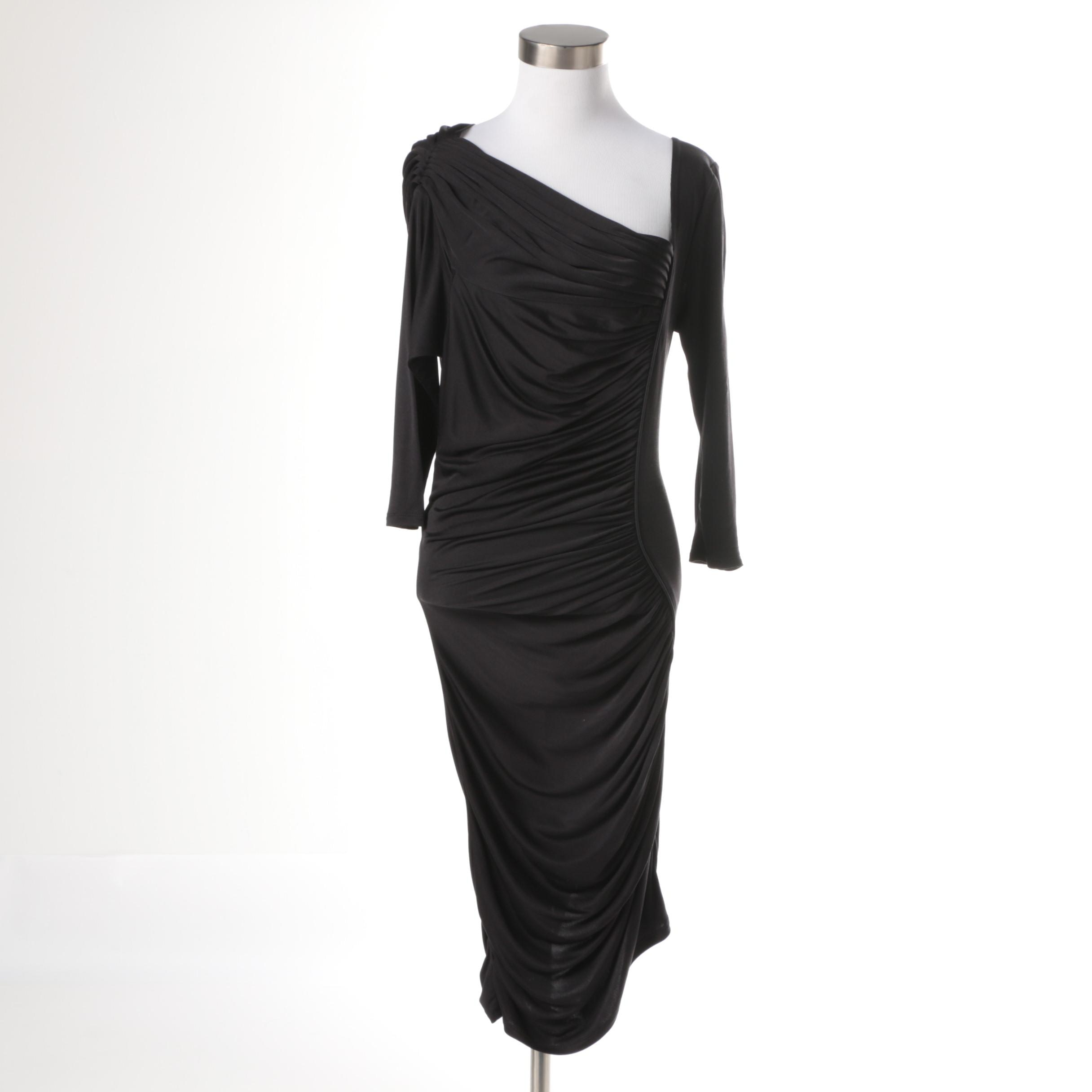 Catherine Malandrino Black Silk Evening Dress