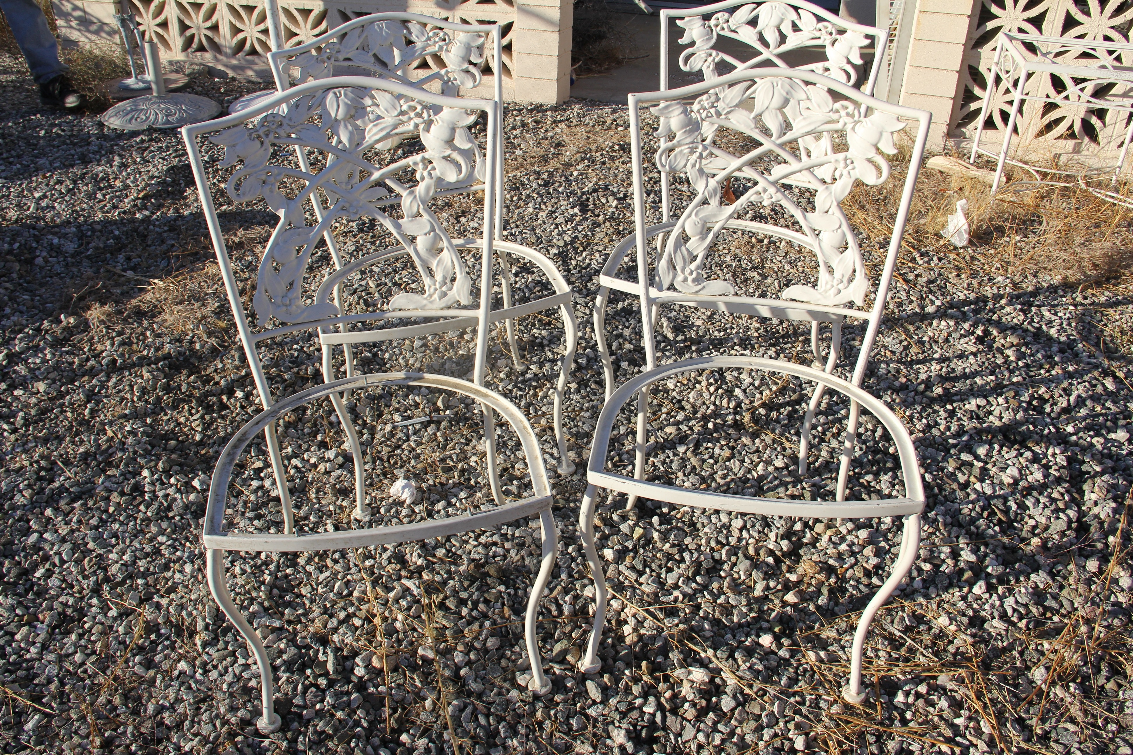 Set of Vintage Wrought Iron Outdoor Chairs