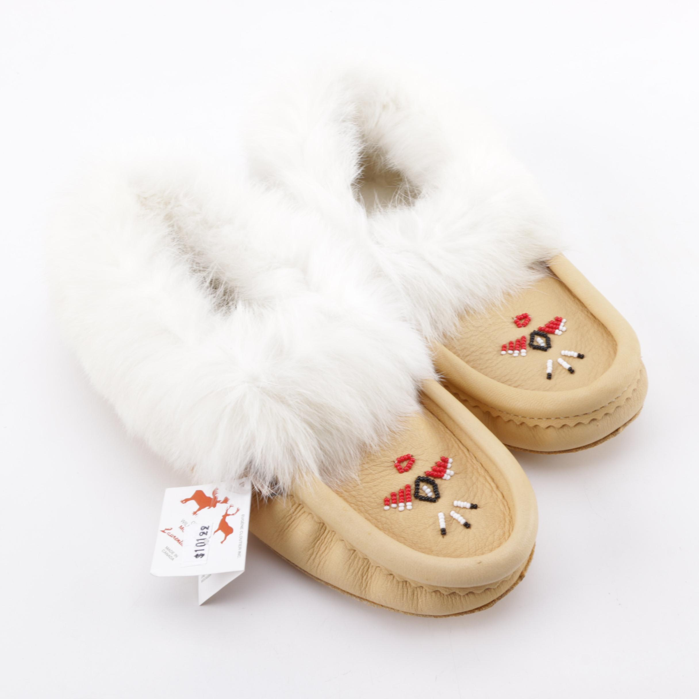 Laurentian Chief Leather and Rabbit Fur Moccasins
