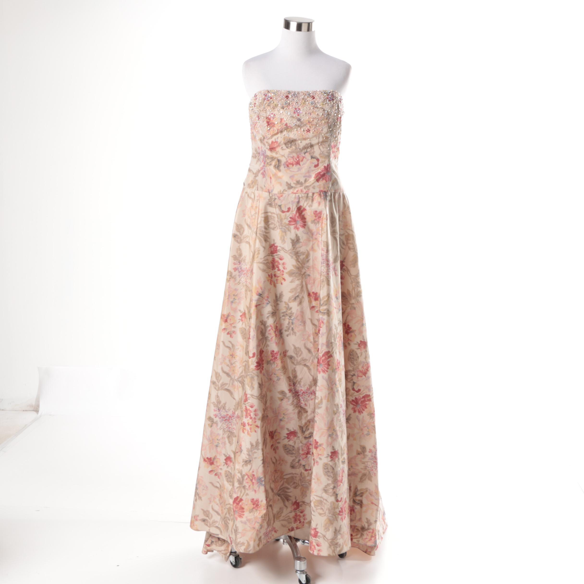 Badgley Mischka Floral Beaded Strapless Silk Blend Dress